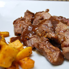 Korean Flank Steak w/ Roasted Sweet Potatoes