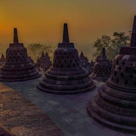 Sunrise over Borobudur bells by Travis Pambu - Buildings & Architecture Places of Worship (  )