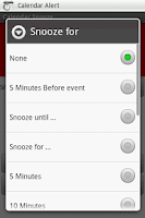 Screenshot of Calendar Snooze