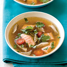 Hot and Sour Soup with Salmon and Oyster Mushrooms