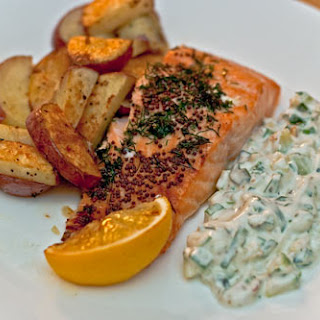 Roasted Salmon and Potatoes with Cucumber Relish