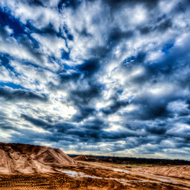 Ray of Light by Marc Mulkey - Landscapes Cloud Formations ( clouds, sand, blue, depth, sun )