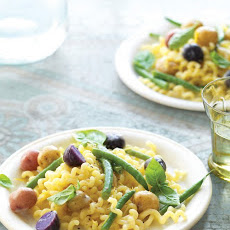 Long Fusilli with Potatoes and Haricots Verts in Lemon Sauce