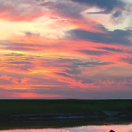 by Steve Morrison - Landscapes Sunsets & Sunrises ( sunset, cape cod, boat meadow beach )