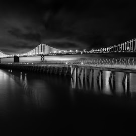 Bay Summer Lights by Antonio Gilbreath - Buildings & Architecture Bridges & Suspended Structures ( water, pier 14, piers, black and white, california, oakland, fisherman's wharf, bay bridge, san francisco,  )