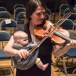 Born to Play The Fiddle by Jonathan Cooper - People Musicians & Entertainers ( music, fiddler, violin, infant, violin baby, baby, viloinist, violin bow, fiddle,  )