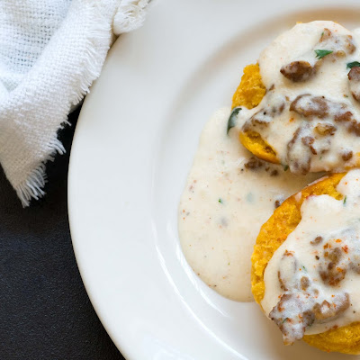 Sweet potato biscuits with chorizo cream gravy and Foodways Texas