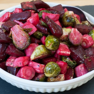 Roasted Parsnips, Brussels Sprouts, and Beets