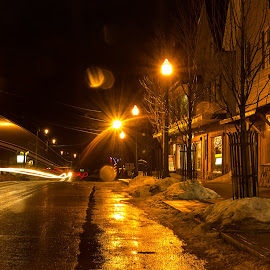 Elm St by Shelby Taylor - City,  Street & Park  Night ( maine, guilford, night, street photography )