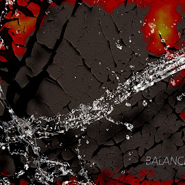 balance by Dietmar Kuhn - Illustration Abstract & Patterns ( water, red, splash, ground, moody )