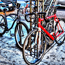Abstract Bicycles by Michael Montgomery - Transportation Bicycles ( kingdom, nature, art, landscape photography, street photography )