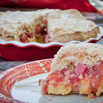 Strawberry Rhubarb Lime Toasted Coconut Meringue Pie