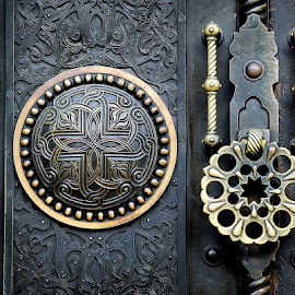 The trap by Alunita Munteanu - Artistic Objects Antiques ( old, handle, lock, door, arabesque, rosette, bolts, nits, metal, monastery, ornament, artistic, black, golden )