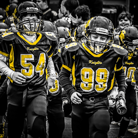 The Walkout by Brandon Stivers - Sports & Fitness American and Canadian football ( pwc, selective color, football, black and white, team, game )
