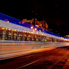 Christmas Light Tram in Budapest by József Sághi - City,  Street & Park  Street Scenes ( hungary, budapest, light painting, buda castle, christmas, led lights, tramway, nightscape )