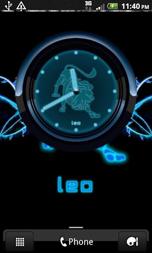 LEO - Neon Blue Clock