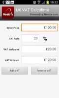 Screenshot of UK VAT Calculator