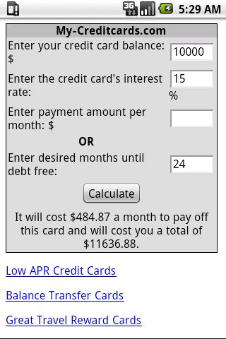 Credti Card Payoff Calculator