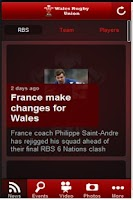 Screenshot of Wales Rugby connect