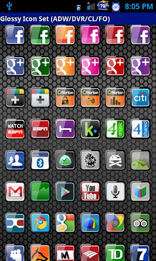 Glossy Icon Pack ADW DVR FO CL