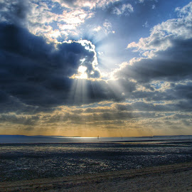 Rays at Beach by Steve Williams - Landscapes Cloud Formations ( sky, sunrays, beach )