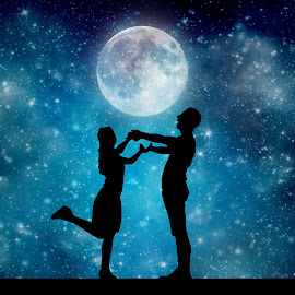 Under the moon by Roxanne Dede - Digital Art People ( moon, romantic, dance, universe, moonlight,  )