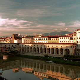Arno River by Jennifer Wheatley-Wolf - Landscapes Travel ( jennifer wheatley-wolf, florence, sunset, reflections, pont vecchio, italy, arno, river )