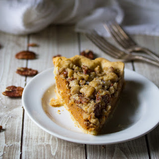 Bourbon Pumpkin Pie with a Salted Brown Butter Pecan Streusel