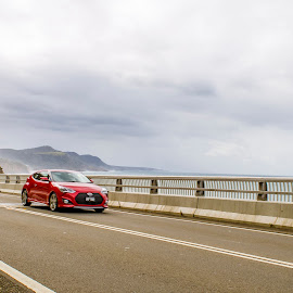 Auto Runaway by Gayan Wijesinghe - Transportation Automobiles ( colour, car, sky, drive, australia, cliff, sea, ocean, road, bridge, sydney )