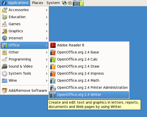 Starting OpenOffice.org 2.4 from Fedora 7 GNOME's Applications menu
