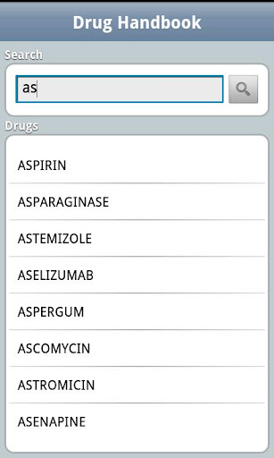 drug-handbook for android screenshot