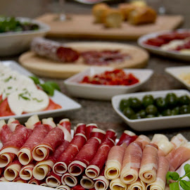 appetizers by Jessica Sacavage - Food & Drink Meats & Cheeses ( salami, fontina, bresaola, food, salame, meat, prosciutto, cheese, mozzarella, provolone )
