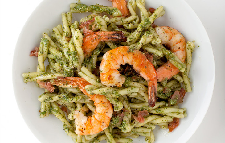 Pasta with Pesto, Shrimp,