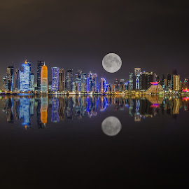 A Beautiful Skyline of Doha Qatar   by Agha Rafay - City,  Street & Park  Skylines ( skyline, night photography, seeline, night lights, night scene, waterscape, sea, landscape, night shot, nightscapes, seaview, nightscape )