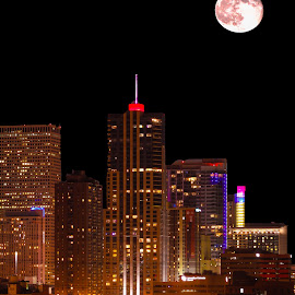 Honey Moon by Corbin Elliott - City,  Street & Park  Skylines ( moon, denver photography, photographer denver, honey moon, denver colorado, denver sky line, photography denver, denver, strwberry moon, denver photographer )