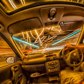 Back to the future  by Barry Jones - Abstract Light Painting ( abstract, car, lights, uk, light painting,  )
