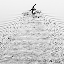 The journey  by Raffael Don - Abstract Water Drops & Splashes ( water, the journey, black and white, boat,  )