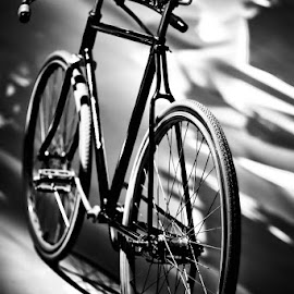 Ghost Rider by Andy Just Andy - Transportation Bicycles ( ride, old, vintage, transport, black and white, bicycle, Bicycle, Sport, Transportation, Cycle, Bike, ResourceMagazine, Outdoors, Exercise, Two Wheels )