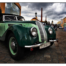 BMW 327 by Martin Mourek - Transportation Automobiles ( old, bright, automobile, little, yellow, rusty, transportation, historic, sky, veteran, metal, family, care, industry, hood, isolated, symbol, white, paint, tire, window, auto, oldtimer, revival, antique, small, car, wheel, chrome, vehicle, retro, road, space, style, 1960s, path, rust, classic, vintage, wreck, front, past, steel, radiator, history, blue, background, brown, historical, design )