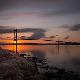 The Bridge by Kim Matzen - Landscapes Sunsets & Sunrises ( sunset, long exposure, denmark, bridge, landsca, golden hour )