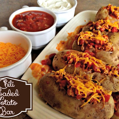 Cheap & Easy Chili Loaded Potato Bar