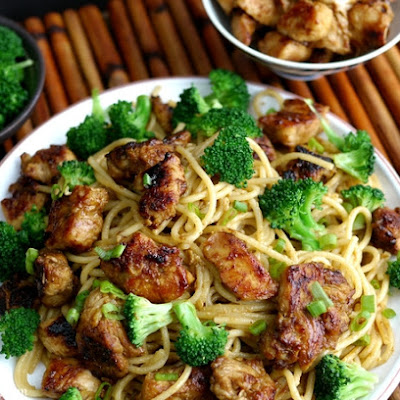 Sticky Asian Chicken Spaghetti