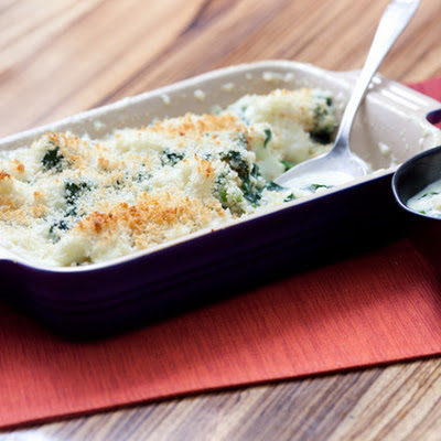 "Cauliflower ""Mac 'n' Cheese"" with Spinach"