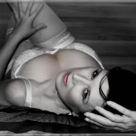 Come to Bed eyes by Tony Moore - Nudes & Boudoir Boudoir ( reclining, lingerie, black and white, bed, boudoir )