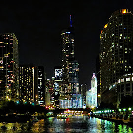 Chicago From The River by Tricia Scott - Digital Art Places ( water, reflection, buildings, architecture, chicago, trump tower, river )