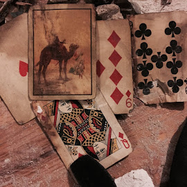 Found these in a wall tonight while I was removing some molding in a kitchen. I wonder the story of their last game. by Schoneck Sho - Novices Only Objects & Still Life
