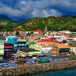 The sun popped through the clouds at just the right moment, that being the moment where I had a camera in my hand. Thirty seconds later it clouded back up again. This is Rosseau, capital of Dominica. by Dub Scroggin - City,  Street & Park  Vistas