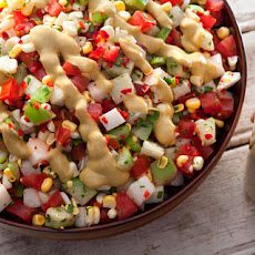 Tomato, Tomatillo, and Corn Salad with Avocado Dressing