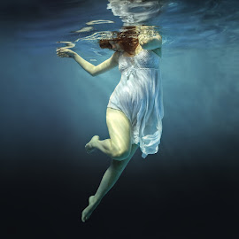 Lightness of Being. by Dmitry Laudin - People Maternity ( water, under water, blue, woman, pregnancy, swim, white )