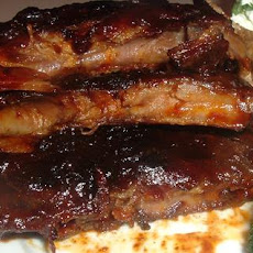 Chili Rubbed Baby Back Ribs W/ Dark Roast Coffee Barbecue Sauce